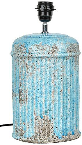 Better & Best Lámpara Redonda Rayas, Azul, Claro craquelado Irregular, Medidas 18x18x35 cm, Material: Terracota