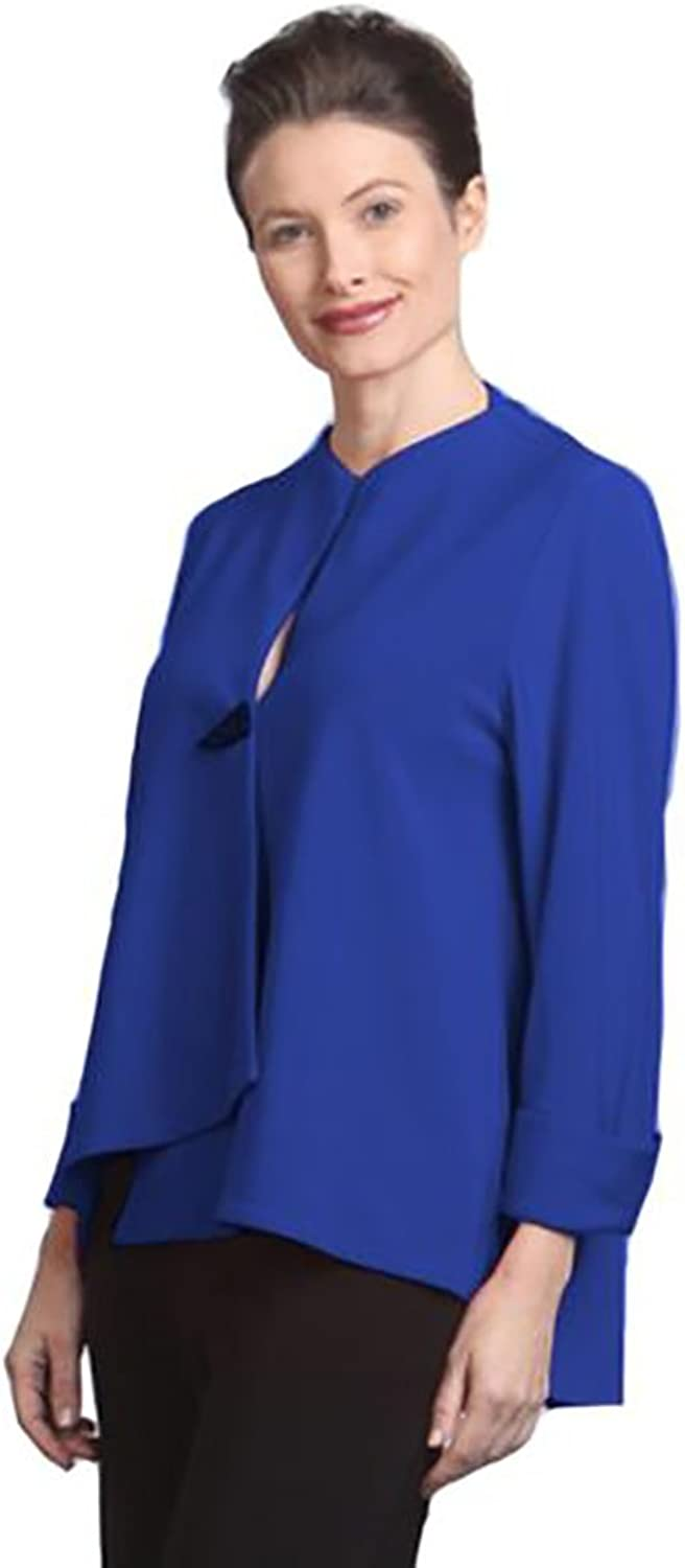 IC Collection Solid Asymmetrical Jacket in bluee  9173JBL