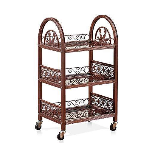 HLL Trolleys, Servierwagen Salon Trolley, Salon Trolley Salon Verwendung Pedestal Rollen Wagenrad,Messing