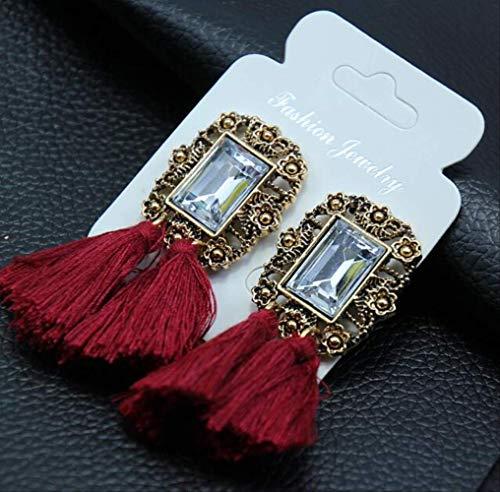 Oorbel bengelen kristallen sieraden Vintage kwast verklaring Bib oorbellen voor vrouwen sieraden cadeaue050Red wijn