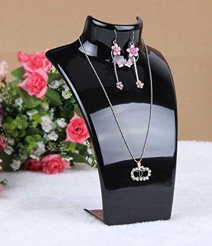 E-Meoly Collar colgante pendientes pendientes pendientes pendientes soporte de exhibición acolchado para joyería cadena de eslabones 3D caballete busto (negro)