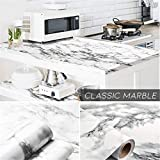 Waterproof Marble Wallpaper,Self Adhesive Marble Wall Paper Roll Kitchen Countertop Marble Adhesive Paper Table Desk Cover Bathroom Vanity Decor 05#