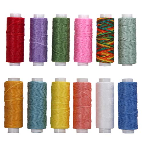 Wax Leather Thread, 12 Colors Wax Coated Cords 150D 0.8mm Waxed Polyester String for Bracelet Making, Leather Projects, Bookbinding, Macrame, Handcraft