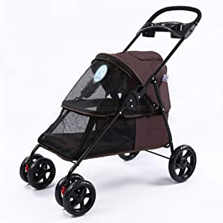 Pet Travel Stroller, Dog Cat Pushchair Pet Four-Wheeled Stroller Trolley Puppy Jogger Four Wheeled Trolley Travel Goods In...
