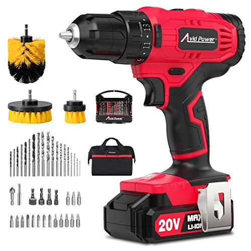 AVID POWER 20V Cordless Drill, Lithium-ion Battery Power Drill/Driver with 41pcs Drill Bit Set