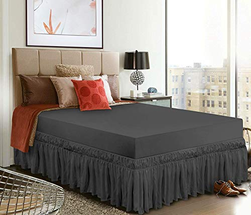 Utopia Bedding Elástico Falda De Cama con Volantes - Extra Profundas (40 cm Caída) - (135 x 190 cm, Gris)