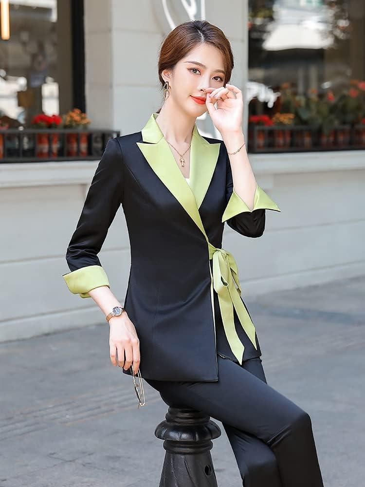 NJBYX Women Ladies Winter Pant Suit With Bow Belt Design Business 2 Piece Set (Color : Black, Size : XL code)