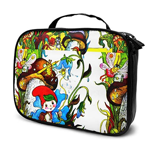 Multi-Purpose Cosmetic Train Case Lazy Zipper Clutch Bag Large Capacity Butterfly Insects Plants Flowers