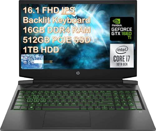 2021 HP Pavilion 16.1 'FHD Gaming Laptop, Intel 6-Core i7-10750H, 16GB DDR4, 512GB SSD + 1TB HDD, NVIDIA GTX 1660Ti Max-Q, Webcam, Bluetooth, teclado retroiluminado, Windows 10 con tarjeta ES USB