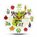 GAVA Reloj de pared para dormitorios You Are What You Eat con cita vegetariana de temporada frutas verduras ilustraciones reloj comida saludable comer vegano decoración del hogar