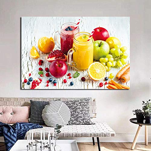 ZDFDC Arte della Parete Tela Pittura Bacca Verdure Succhi di Frutta Poster Stampe Ristorante Moderno Camera da Letto Decorazione della casa Immagine