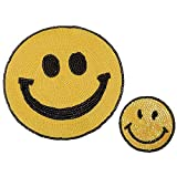 A/N Sew On/Iron On Patch Embroidery Badge Patch, Suitable for DIY Jackets T-Shirt Backpacks, JeansA, 2 Stück großer Pailletten-Smiley