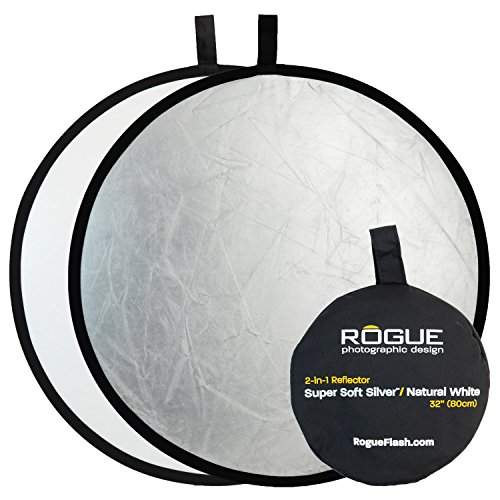 Rogue Photographic Design 2-in-1 Collapsible Reflector 32', Super Soft Silver/Natural White (ROGUE32SW)