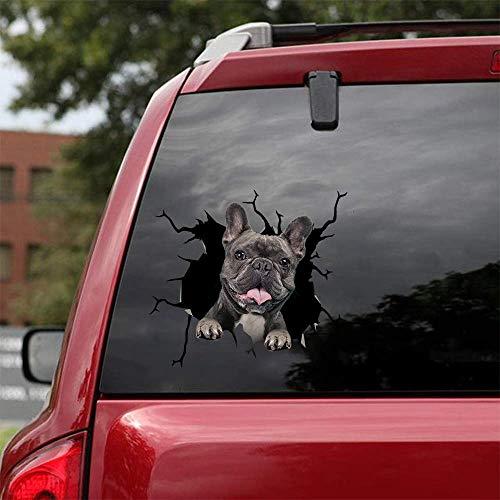 French Bulldog Crack Car Sticker Window Decal Bulldog Sticker Pet Funny Puppy Lover Sticker Cars Crack Decal Trucks Vans Walls Laptops