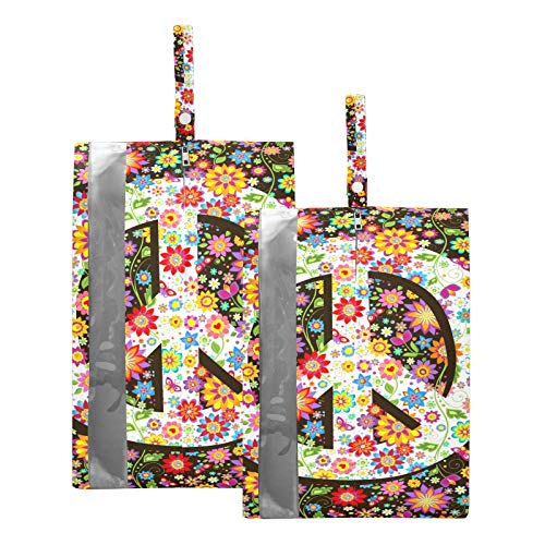 Hippie Peace Sign Travel Shoe Bags, Portable Lightweight Shoes Storage Bag for Men & Women a Set of Two Size(8rh5g1)