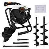 DC HOUSE 52cc 2.4HP Gas Powered Post Hole Digger with Two Earth Auger Drill Bit 6' & 10' + 3 Extension Kits