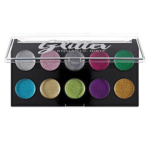 iShine 10 Couleurs Palettes Fard à Paupières Palettes de Maquillage Shimmer Eyeshadow Paillettes Scintillantes Plaque d'Ombre à Paupières Teinte Nacrée Durable Cosmétique Maquillage d'oeil