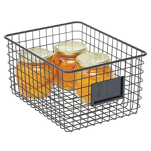 mDesign Caja multiusos de metal – Caja organizadora multifunción para cocina, despensa, etc. – Cesta de almacenaje de alambre, compacta y universal – negro