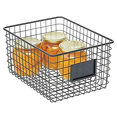 mDesign Farmhouse Decor Metal Wire Food Organizer Storage Bin Basket for Kitchen Cabinets, Pantry, Bathroom, Laundry… - PORTABLE: The perfect storage and organizing solution for modern kitchens and pantries; Perfect for snacks, drinks, fruits, vegetables, pastas, soups, canned goods, bottles, cans, cookies, seasoning and flavor packets, macaroni and cheese boxes, pouches, jars, bread, baked goods and many other kitchen pantry items MULTIPLE STORAGE OPTIONS: The perfect solution for organizing a multitude of household items - such as video games, toys, lotions, bath soaps, shampoos, conditioners, linens, towels, laundry needs, craft supplies, school supplies, files and more; The options are endless; Great for dorm rooms, apartments, condos, cabins, RVs, and campers, too; Use this multi-purpose basket anywhere you need to add storage and get organized FUNCTIONAL & VERSATILE: Organize all of your kitchen essentials; Great for dry goods and other kitchen items such as: towels, candles, small appliances and kitchen tools; These also work in the refrigerator or freezer; Classic open wire design offers roomy and easy storage for any room in your home; Use multiple bins side by side for larger spaces or use them individually; Try these in closets, bedrooms, bathrooms, laundry rooms, craft rooms, mudrooms, offices, playrooms, and garages - living-room-decor, living-room, baskets-storage - 51UVSLlqXWL. SS400  -