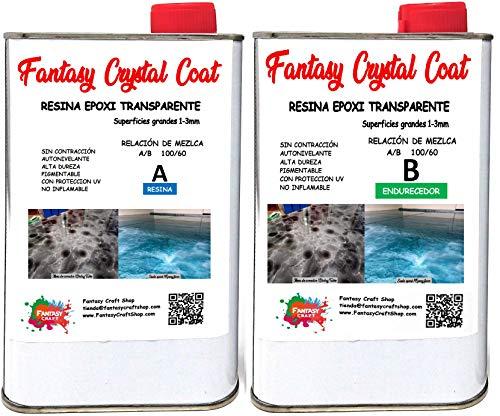 Fantasy Craft 1,6 Kg Fantasy Crystal Coat, Resina epoxi bicomponente, porcelanato liquido, Ideal para Recubrimiento de Grandes Superficies