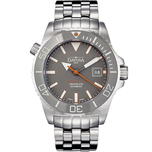 Davosa Automatische Schweizer Taucheruhr – Luxus Analog Argonautik Wasserdicht Sport Armbanduhr für Herren mit stilvollem Armband Band Silber, Grau, BR1