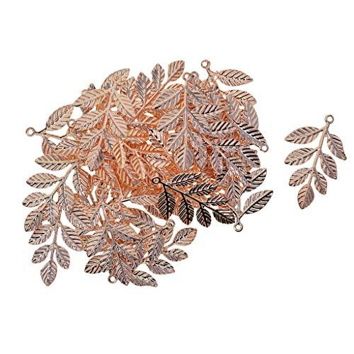 Baoblaze 30Pcs Metal Leaf Branches Charm Pendant Bracelet Connector Beads - Rose Gold
