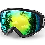 findway Gafas Esqui Niño 8~14 Años Mascara Esqui Niño Gafas de Esqui Niño Niña OTG Ajustable para Niños Anti-Niebla Protección UV Compatible con Casco para Esquiar Snowboard (Lente Oro1 (VLT 7.74%))