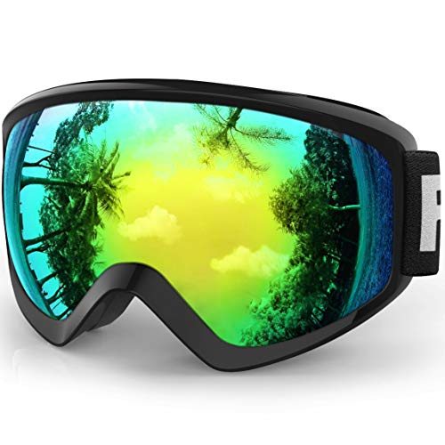 findway Skibrille Kinder, Snowboardbrille Helmkompatible Schneebrille Verspiegelt Snowboard Brille für Kinder Jungen Mädchen 8-14 Jahre OTG UV Schutz Anti- Nebel für Skifahren (Gold (VLT 7.74%))