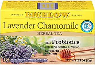 Bigelow Tea Lavender Chamomile 18Count (Pack of 6) Caffeine-Free Individual Herbal Tisane Bags with Probiotics, for Hot Tea or Iced Tea, Drink Plain or Sweetened with Honey or Sugar