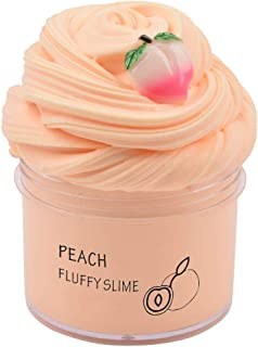 Amazetoy Fluffy Slime Toys with Peach Charm, Scented Butter Slime,for Adults and Kids,Stretched and Non-Sticky(7oz) 200ml