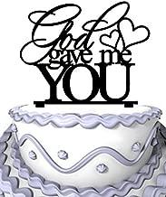 Meijiafei Cursive God Gave Me You with Heart Wedding Custom Cake Topper