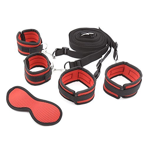 Esposas en la cama y accesorios de protección ocular para pareja (rojo)