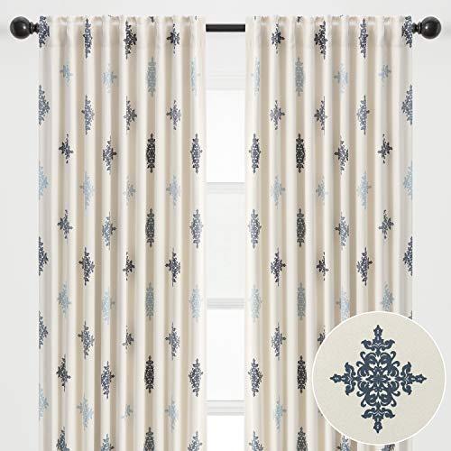 Chanasya 2-Panel Traverse Damask Blackout Curtains - 3-in-1 Back Tab, Rod Pocket, Ring Tab - for Windows Living Room Bedroom - Room Darkening Thermal Insulation Elegant Drapes 52 x 63 Inches - Blue