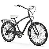 sixthreezero EVRYjourney Men's 21-Speed Hybrid Cruiser Bicycle, Matte Black w/White Seat/Grips, 26' Wheels/19 Frame