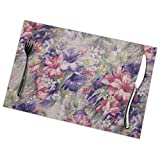 Asekngvo - Set di 6 tovagliette con stampa a fiori viola e rosa, lavabili, per cucina, sala da pranzo, decorazione per la casa, 30 x 45 cm