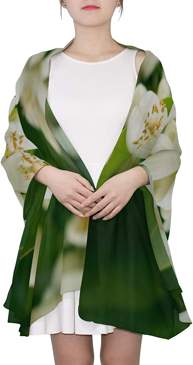 Flowers Of An Lemon Tree Among Leaves Unique Fashion Scarf For Women Lightweight Fashion Fall Winter Print Scarves Shawl Wraps Gifts For Early Spring