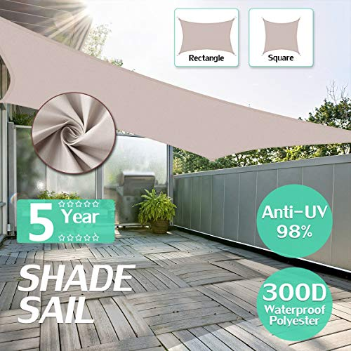 king do way Voile d'Ombrage, Toile Solaire Carrée Anti-UV 95% Toile De Soleil Imperméable de Polyester 300D 160GSM pour Pique-Nique/Piscine/Jardin/Terrasse/Automobile, 2.5x2.5 Khaki