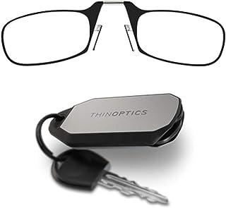نظارة قراءة 1.5 إطار أسود وحقيبة سلسلة مفاتيح - نظارات قراءة مدمجة قابلة للطي 1.5 نظارات قراءة