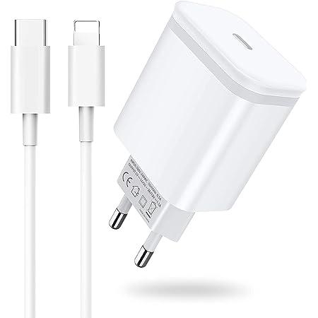 AXIULOO Chargeur USB C 20W avec Cable 2M, Prise Rapide Secteur USB- C Mural Alimentation Adaptateur pour iPhone 12/12 Mini / 12 Pro / 12 Pro Max, 11/11 Pro Max Se 2020, X XS XR Pad Pro, Airpods Pro