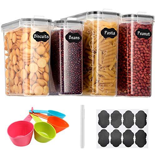 Aitsite Recipientes para Cereales Juego de 4(2 * 4L,2 * 2.5L) Botes Cocina Tarro de Almacenamiento Plasico con Tapa Hermética Sin BPA para Almacenar Cereales, Pasta, Arroz, Harina, Etc