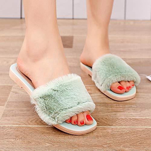 ypyrhh Home rutschfest Pantoffeln für,Einfarbige rutschfeste Hausschuhe,tragen Sie Flauschige Hausschuhe drinnen und draußen-Green_39,Plüsch Memory Foam rutschfeste Indoor Pantoffel