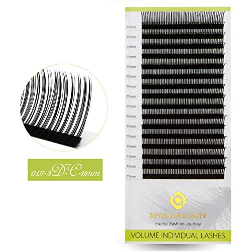 BEYELIAN Gap Eyelash Extensions Rapid Fan Volume Lashes Separated Design for Easily Fanning C Curl 5D Lash (C Curl 0.07mm 11mm)