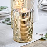 Cyl Home Hurricane Candleholders Clear Glass with Unique Golden Striped Decor Dining Table Centerpieces...