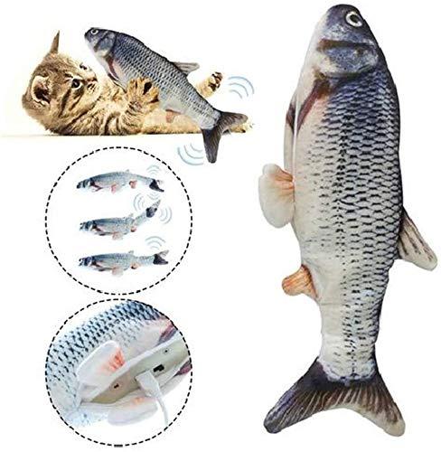 USB eléctrica Catnip Fish juguete recargable que menea salto automático de los pescados realista simulado felpa pescados del gato gatito juguete del Chew-bagre de carga USB, Color: Hierba de la carpa-