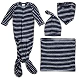 aden + anais Snuggle Knit Newborn Gift Set with Knotted Baby Gown, Swaddle Blanket, Infant Hat, and Bandana Bib, 0-3 Months, Navy Stripe