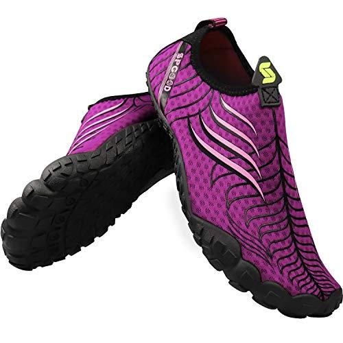 SPGOOD Zapatos descalzos de secado rápido, transpirables, antideslizantes, unisex, para deportes acuáticos, trekking, baño, surf, zapatos de agua, cómodos y resistentes al desgaste, Lila Rosa., 39 EU