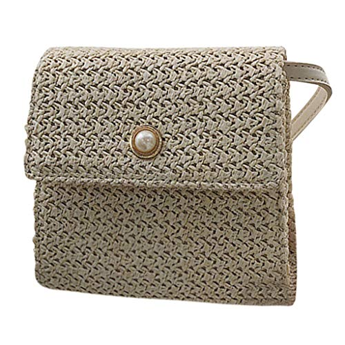 New Leaf2you Straw Bags Hand-woven Flap Pearl Pendant Shoulder Bag Ladies Small Crossbody Bags Weave...