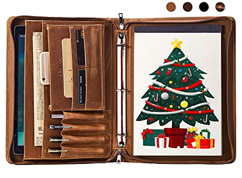 Leather Portfolio Padfolio Folder, Padfolio with 3 Ring Binder, Zipper Portfolio Notebook Binder,...