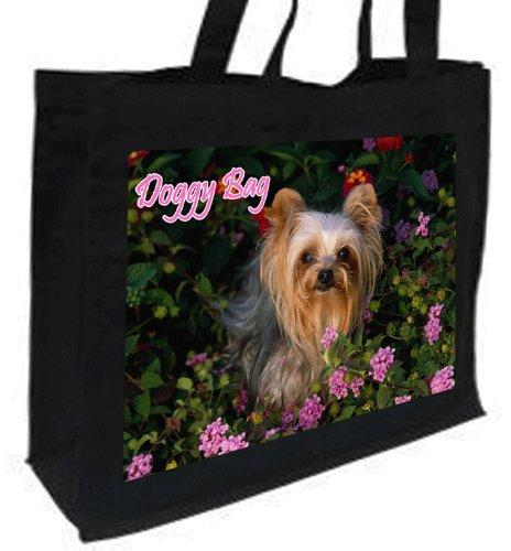 Yorkshire Terrier, Borsa per la spesa, in cotone, motivo 'Doggy Bag', colore: nero