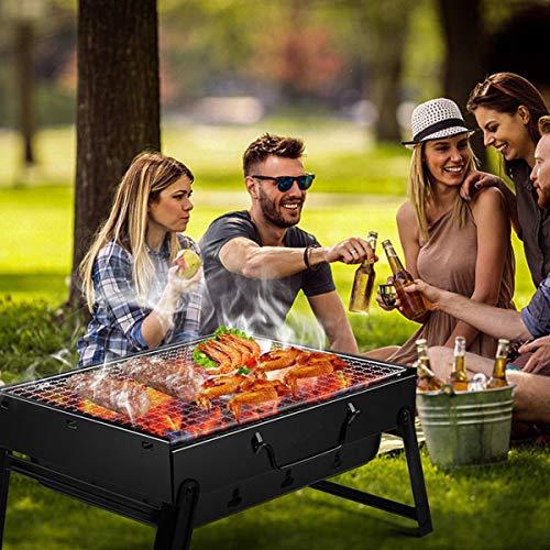 51UVWzXRNPL - BBQ Holzkohlegrill Edelstahl Faltbare BBQ Grill Tragbarer Campinggrill Outdoor Picknickgrill Klappgrill mit aktivbelüftung, 35 * 27 * 20cm, Ideal für 3-5 Personen für Picknick Außenterrasse Gartenfest